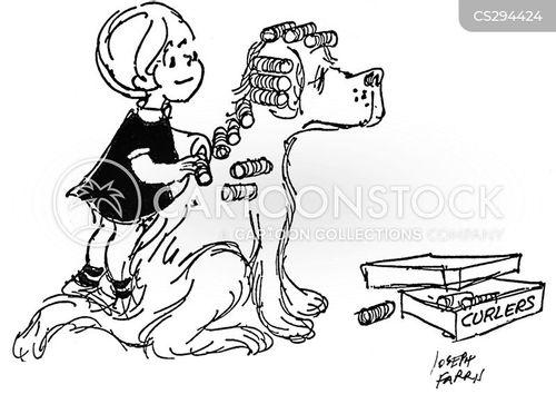 hair curly curlers cartoon beauty funny dog cartoons comics cartoonstock dogs dislike