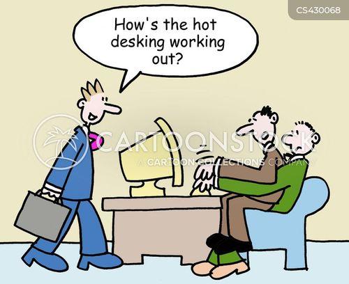 Hot-desk cartoons, Hot-desk cartoon, funny, Hot-desk picture, Hot-desk