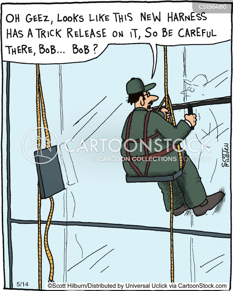 Cartoon Roofing Installation : Safety harness fall protection cartoons get free image