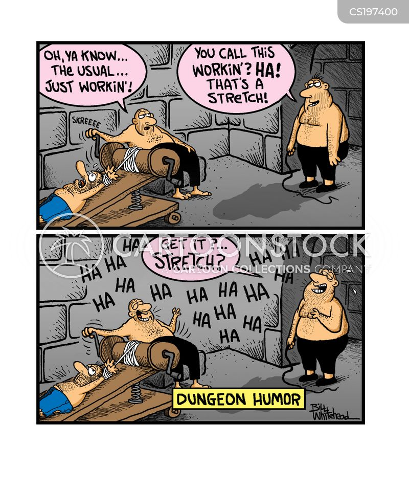 Oh, you know, the usual...just working. - Dungeon Humour from CartoonStock.com