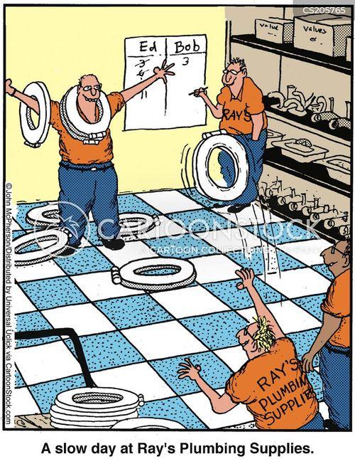 Plumber at Work Cartoon