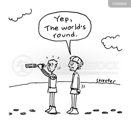 [cartoon: explorer, other man saying
