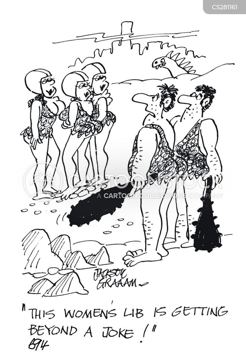 Caveman Hair Pulling : Womens liberation cartoons and comics funny pictures