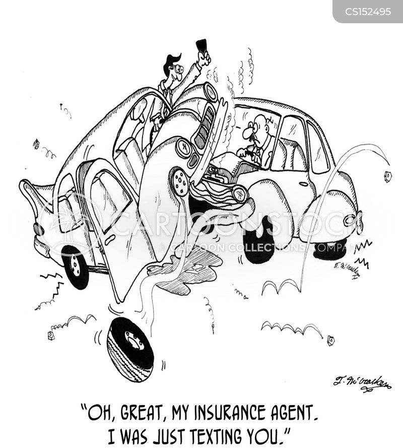 Cartoon Cars Crashing Into Each Other With Texting Driver